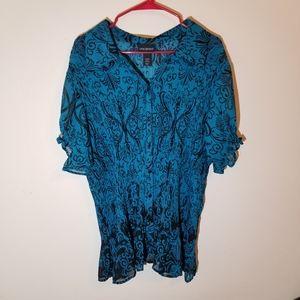 Lane Bryant 26/28 turquoise&black floral print top